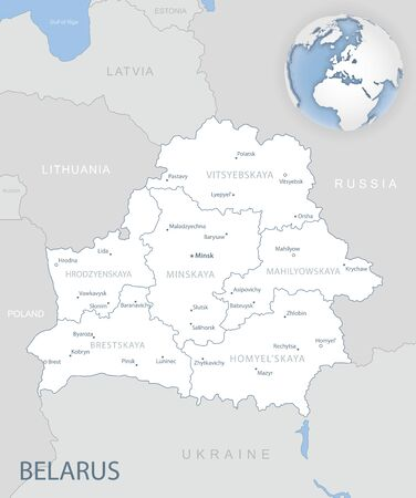 Blue-gray detailed map of Belarus and administrative divisions and location on the globe. Vector illustration Ilustrace