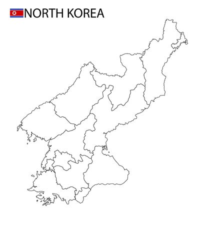 North Korea map, black and white detailed outline regions of the country. Vector illustration