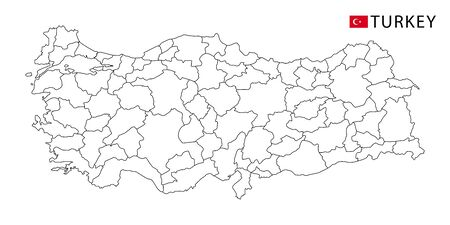 Turkey map, black and white detailed outline regions of the country. Vector illustration