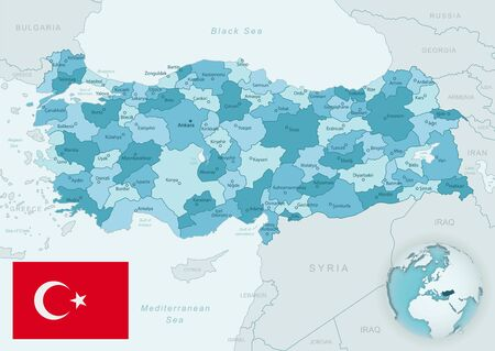 Blue-green detailed map of Turkey and administrative divisions with country flag and location on the globe. Vector illustration Ilustrace