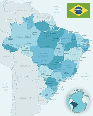 Blue-green detailed map of Brasilia and administrative divisions with country flag and location on the globe. Vector illustration Ilustrace