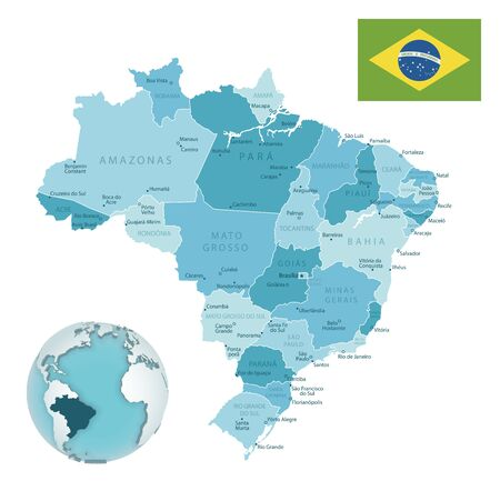 Brasilia administrative blue-green map with country flag and location on a globe. Vector illustration Ilustrace