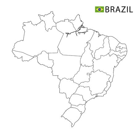 Brasilia map, black and white detailed outline regions of the country. Vector illustration Ilustrace