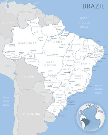 Blue-gray detailed map of Brasilia and administrative divisions and location on the globe. Vector illustration Ilustrace