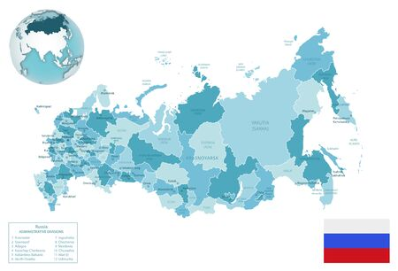 Russia administrative blue-green map with country flag and location on a globe. Vector illustration