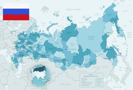 Blue-green detailed map of Russia administrative divisions with country flag and location on the globe. Vector illustration Ilustrace