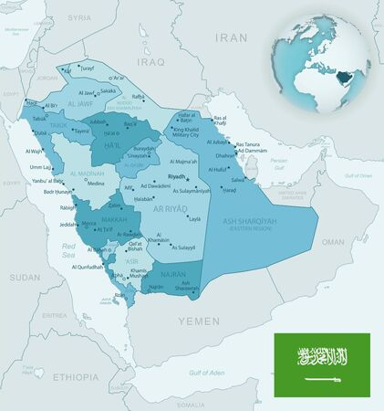 Blue-green detailed map of Saudi Arabia administrative divisions with country flag and location on the globe. Vector illustration