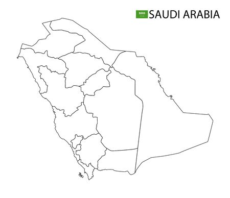 Saudi Arabia map, black and white detailed outline regions of the country. Vector illustration