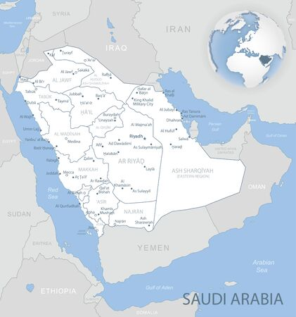 Blue-gray detailed map of Saudi Arabia administrative divisions and location on the globe. Vector illustration Ilustrace