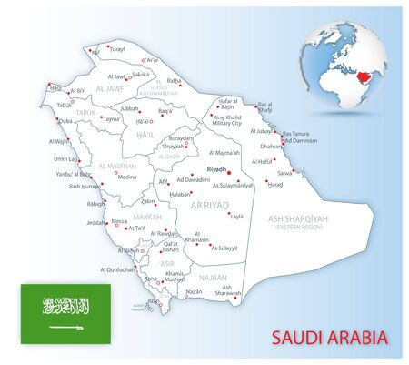 Detailed Saudi Arabia administrative map with country flag and location on a blue globe. Vector illustration