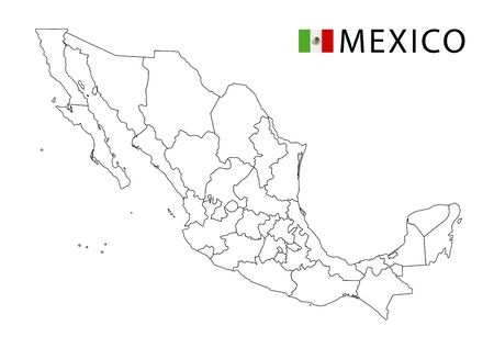 Mexico map, black and white detailed outline regions of the country. Vector illustration