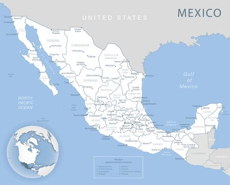 Blue-gray detailed map of Mexico and administrative divisions and location on the globe. Vector illustration
