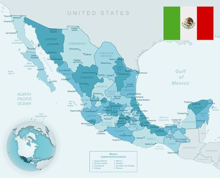 Blue-green detailed map of Mexico administrative divisions with country flag and location on the globe. Vector illustration