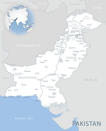 Blue-gray detailed map of Pakistan administrative divisions and location on the globe. Vector illustration