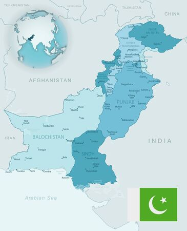 Blue-green detailed map of Pakistan administrative divisions with country flag and location on the globe. Vector illustration