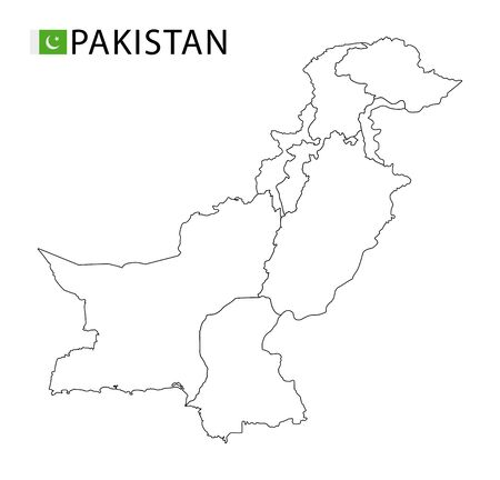Pakistan map, black and white detailed outline regions of the country. Vector illustration