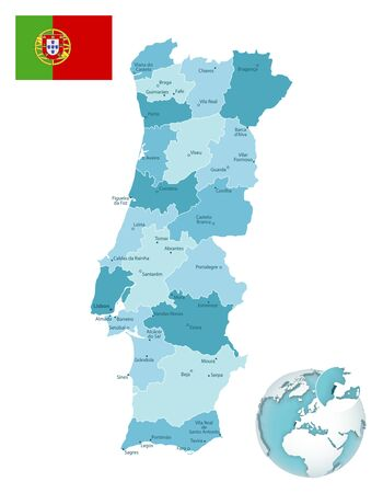 Portugal administrative blue-green map with country flag and location on a globe. Vector illustration