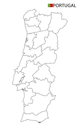Portugal map, black and white detailed outline regions of the country. Vector illustration 矢量图像