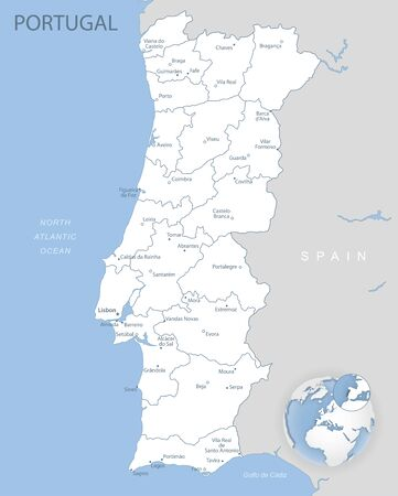 Blue-gray detailed map of Portugal administrative divisions and location on the globe. Vector illustration