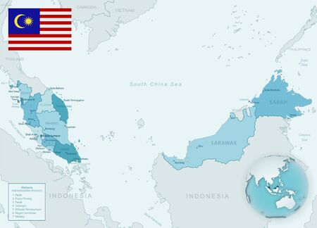 Blue-green detailed map of Malaysia administrative divisions with country flag and location on the globe. Vector illustration Vector Illustratie