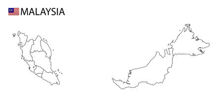 Malaysia map, black and white detailed outline regions of the country. Vector illustration