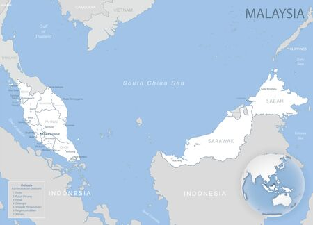 Blue-gray detailed map of Malaysia administrative divisions and location on the globe. Vector illustration