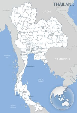 Blue-gray detailed map of Thailand administrative divisions and location on the globe. Vector illustration