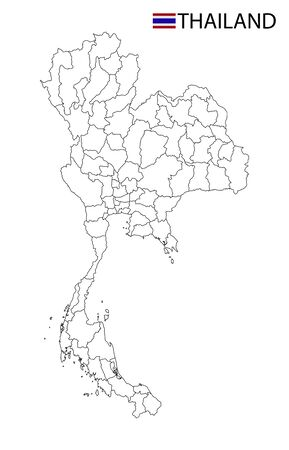 Thailand map, black and white detailed outline regions of the country. Vector illustration Ilustrace
