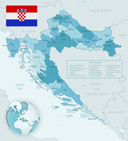 Blue-green detailed map of Croatia administrative divisions with country flag and location on the globe. Vector illustration