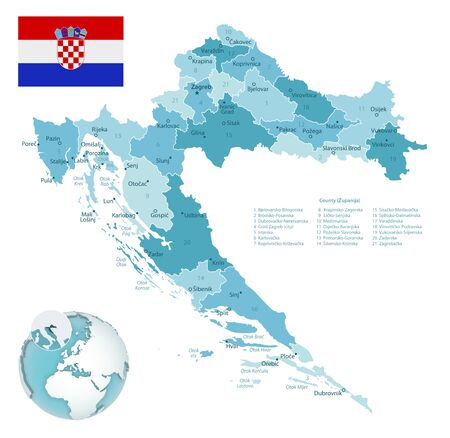Croatia administrative blue-green map with country flag and location on a globe. Vector illustration Ilustrace