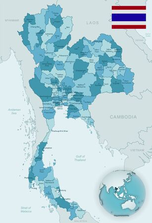 Blue-green detailed map of Thailand administrative divisions with country flag and location on the globe. Vector illustration