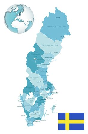 Sweden administrative blue-green map with country flag and location on a globe. Vector illustration