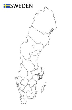 Sweden map, black and white detailed outline regions of the country. Vector illustration Ilustrace