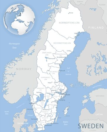 Blue-gray detailed map of Sweden administrative divisions and location on the globe. Vector illustration Ilustrace