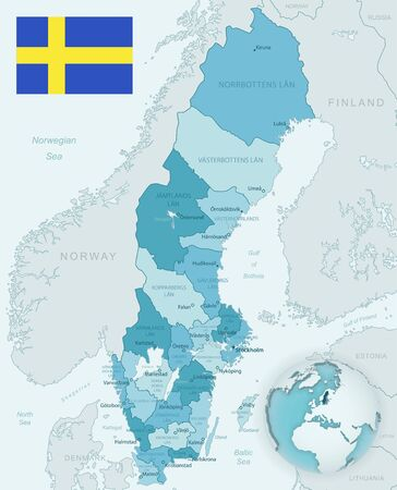 Blue-green detailed map of Sweden administrative divisions with country flag and location on the globe. Vector illustration