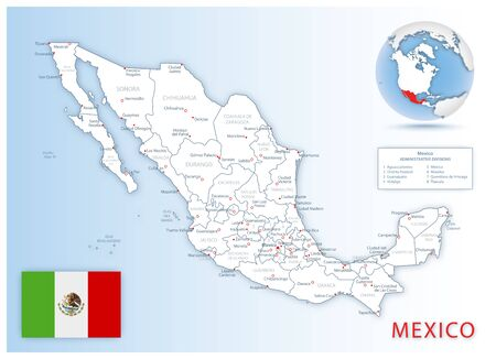 Detailed Mexico administrative map with country flag and location on a blue globe. Vector illustration Reklamní fotografie