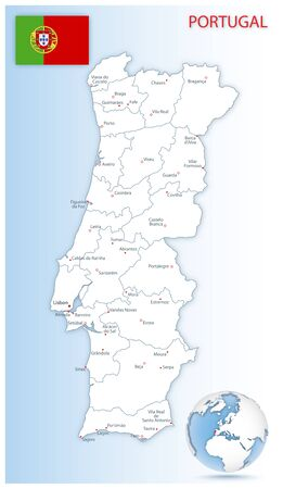 Detailed Portugal administrative map with country flag and location on a blue globe. Vector illustration Reklamní fotografie