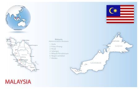 Detailed Malaysia administrative map with country flag and location on a blue globe. Vector illustration