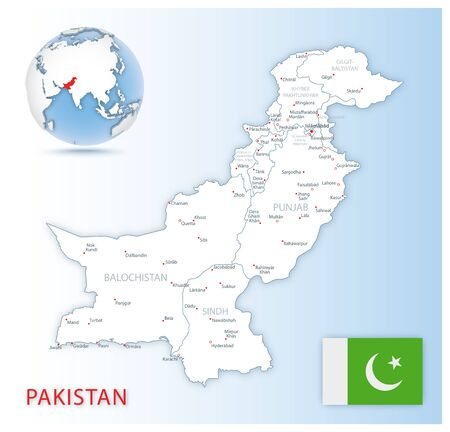 Detailed Pakistan administrative map with country flag and location on a blue globe. Vector illustration