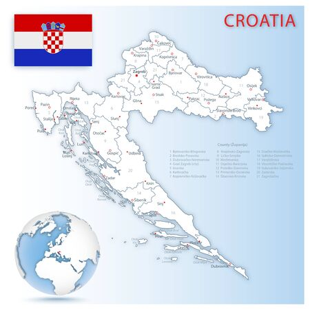 Detailed map of Croatia administrative divisions with country flag and location on the globe. Vector illustration