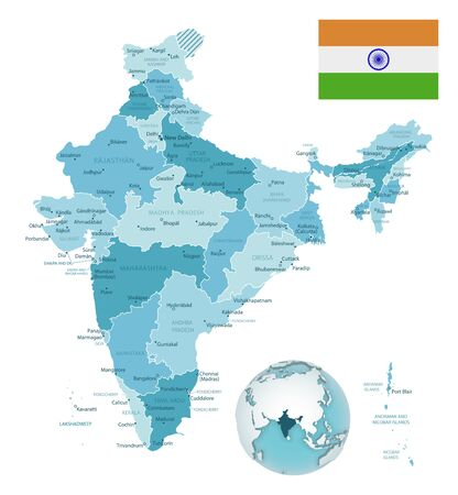 India administrative blue-green map with country flag and location on a globe. Vector illustration