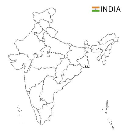 India map, black and white detailed outline regions of the country. Vector illustration