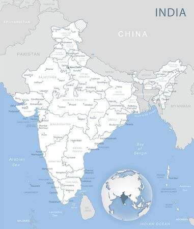 Blue-gray detailed map of India administrative divisions and location on the globe. Vector illustration