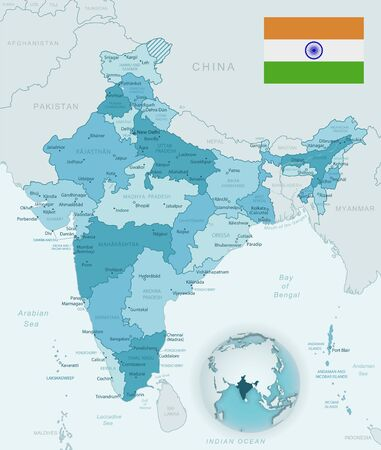 Blue-green detailed map of India administrative divisions with country flag and location on the globe. Vector illustration