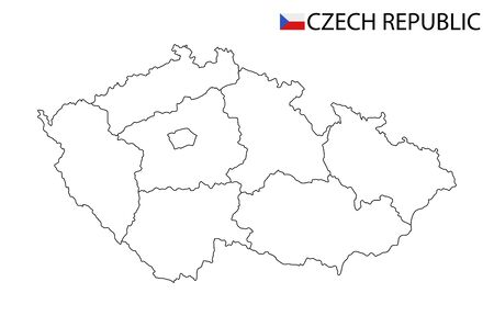 Czech Republic map, black and white detailed outline regions of the country. Vector illustration