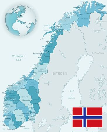Blue-green detailed map of Norway administrative divisions with country flag and location on the globe. Vector illustration