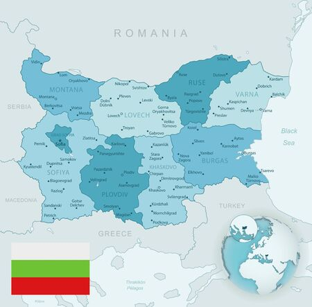 Blue-green detailed map of Bulgaria administrative divisions with country flag and location on the globe. Vector illustration