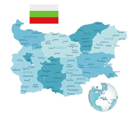 Bulgaria administrative blue-green map with country flag and location on a globe. Vector illustration Vectores