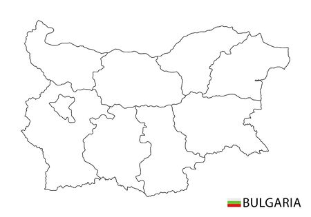 Bulgaria map, black and white detailed outline regions of the country. Vector illustration