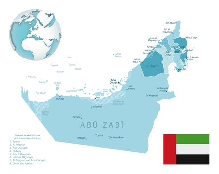 United Arab Emirates administrative blue-green map with country flag and location on a globe. Vector illustration